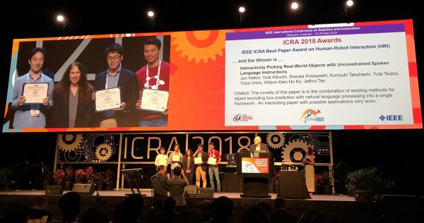 Preferred Networks received the Best Paper Award on Human-Robot Interaction in ICRA 2018.