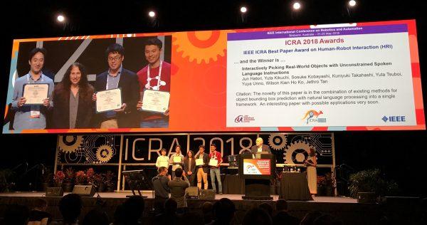 ロボットの国際学会ICRA 2018で、 Preferred Networksの論文がHuman-Robot Interaction(HRI)部門の Best Paper Awardを受賞